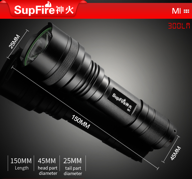 kích thước đèn pin SupFire M1
