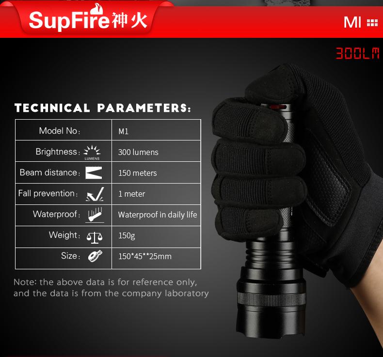 thông số kỹ thuật đèn pin SUpFire M1