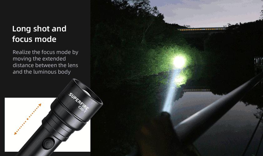 SupFire C20-T đèn pin siêu sáng có zoom độ sáng cao